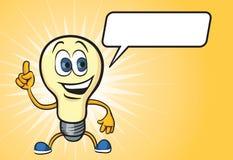 Характер электрической лампочки шаржа счастливый иллюстрация вектора