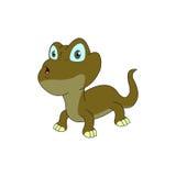Характер ящерицы с вкосую взглядом и большим глазом Стоковые Фотографии RF