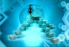 характер 3d идя na górze четырехпроводной иллюстрации лестниц Стоковые Фото