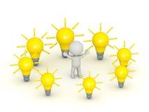 характер 3D окруженный идеями электрической лампочки Стоковая Фотография RF