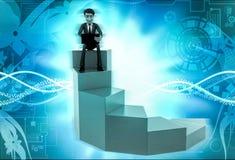 характер 3d сидя с компьтер-книжкой на иллюстрации лестницы Стоковые Фотографии RF