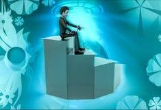 характер 3d сидя с компьтер-книжкой на иллюстрации лестницы Стоковое фото RF