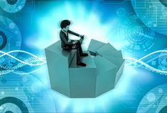 характер 3d сидя с компьтер-книжкой на иллюстрации лестницы Стоковые Изображения