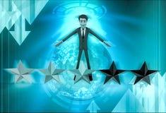 характер 3d с иллюстрацией 5 звезд Стоковые Фотографии RF