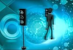 характер 3d с иллюстрацией сигнала Стоковое Изображение