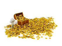 характер 3D с сундуком с сокровищами и много золотых монеток Стоковое Изображение
