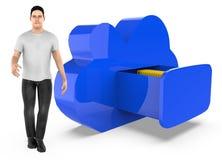 характер 3d, человек и архив облака иллюстрация вектора