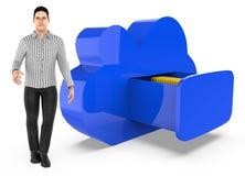 характер 3d, человек и архив облака иллюстрация штока