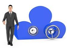 характер 3d, человек и облако сформировали шкафчик иллюстрация вектора