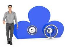 характер 3d, человек и облако сформировали шкафчик иллюстрация штока
