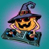 Характер DJ тыквы хеллоуина Музыкальная партия праздника иллюстрация вектора