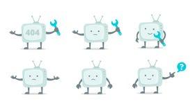 Характер Televisor с стороной, ногами и руками Отремонтируйте комплект Отладка телевидения телевидения с ключем установила набор  Стоковая Фотография RF