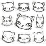 Харизматический набор кота, эскиз руки вычерченный, смешные животные мультфильма смотрит на изменения бесплатная иллюстрация