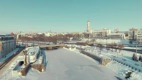 Харьков, Украина Антенна реки Lopan покрытая с льдом акции видеоматериалы