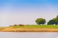 Хата на банках реки Irrawaddy, Мандалая, Мьянмы, Бирмы Скопируйте космос для текста стоковая фотография