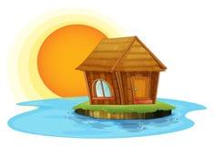Хата nipat в острове иллюстрация вектора