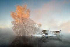 Хата ` s рыболова в зиме Стоковые Изображения RF