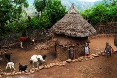 Хаты в деревне Konso Фото принятое дальше: 27-ое декабря 2009 стоковые изображения rf