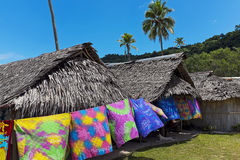 Хаты на заливе Шампани, Вануату Стоковые Изображения RF