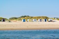 Хаты пляжа на острове Texel, Нидерландах Стоковые Фото