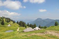 Хаты Velika Planina чабанов, Словения Стоковые Фотографии RF