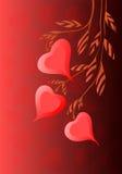 Хворостина чертежа руки с предпосылкой вектора сердец Стоковое Изображение