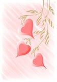 Хворостина чертежа руки с предпосылкой вектора сердец Стоковые Фото