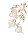 Хворостина чертежа руки с сердцами на белизне Стоковое Фото