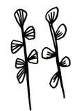 Хворостины и листья нарисованные рукой Стоковые Изображения RF