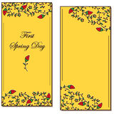 Хворостины и открытка листьев Стоковое Фото