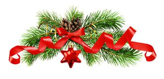 Хворостины рождественской елки, красная звезда, конусы и silk лента обхватывают Стоковое Изображение