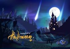 Хеллоуин, замок фантазии, винтажный рассвет концепции северного полюса, карта плаката приглашения, погост, пустошь, рассказ ужаса бесплатная иллюстрация
