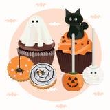 Хеллоуин обрабатывает идею для торжества иллюстрация штока