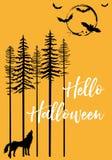Хеллоуин с волком завывать и летучими мышами, вектором стоковая фотография