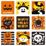 Хеллоуин украсил милые значки Комплект символов иллюстрация вектора