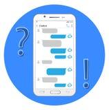 Хелпер интернета Chatbot концепции Болтовня в смартфоне иллюстрация штока