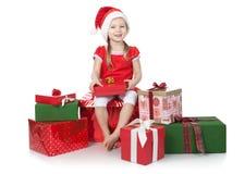 хелпер шлема девушки подарков немногая белое Стоковое Фото