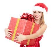 хелпер santa девушки подарка большой коробки жизнерадостный Стоковое Фото