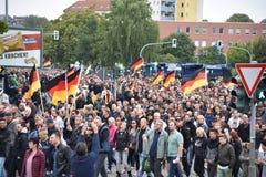 Хемниц, Германия - 1-ое сентября 2018: Демонстрация Trauermarsch Afd стоковое изображение rf