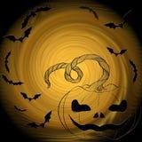 Хеллоуин: кот, летучие мыши, тыква - декоративный состав Стоковое Изображение RF