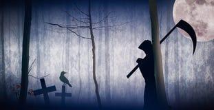 Хеллоуин, древесины на ноче Стоковые Фотографии RF