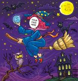 Хеллоуин смотрит на в ведьме летания отверстия с черным котом, летучими мышами и сычом Стоковые Фото