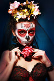 Хеллоуин составляет череп сахара Стоковое Изображение