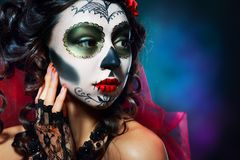 Хеллоуин составляет череп сахара Стоковые Изображения RF