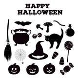 Хеллоуин silhouettes собрание родственных объектов праздника Атрибуты ведьм черного значка установленные традиционные бесплатная иллюстрация