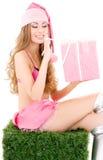 хелпер santa подарка коробки Стоковое Фото