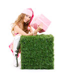 хелпер santa подарка коробки Стоковое Изображение