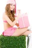 хелпер santa подарка коробки Стоковое фото RF