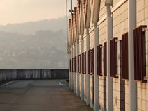 Хижины гавани на заходе солнца с дневним светом стоковая фотография rf