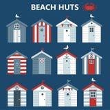 Хижины пляжа на голубой предпосылке бесплатная иллюстрация